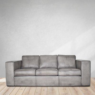 Vintage Grey 3 Seater Buffalo Leather
