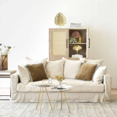 Belgian 3 Seater Linen Sofa in Natural