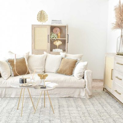 Belgian 3 Seater Linen Sofa in Natural