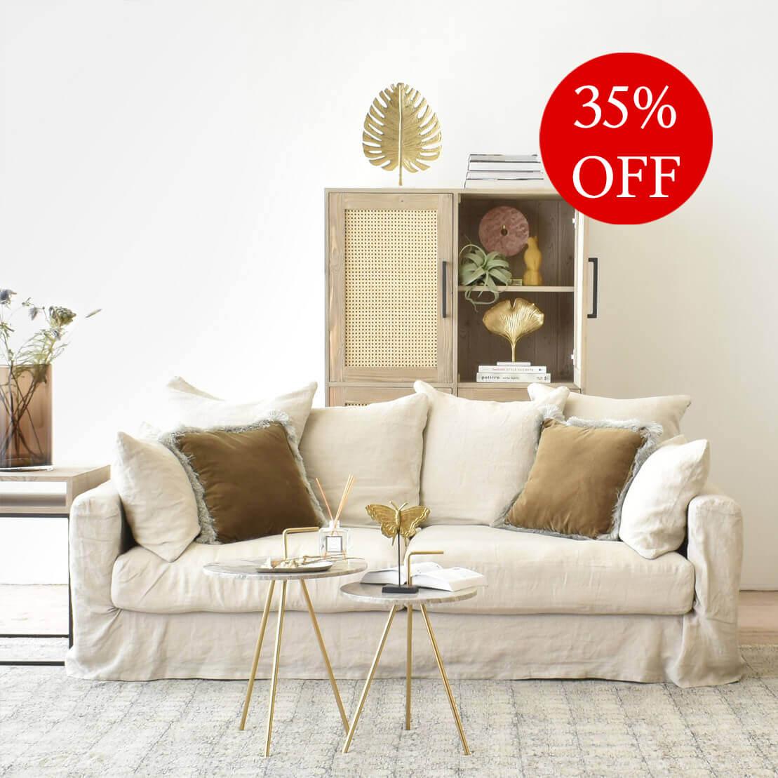 Belgian 11 Seater Linen Sofa in Natural
