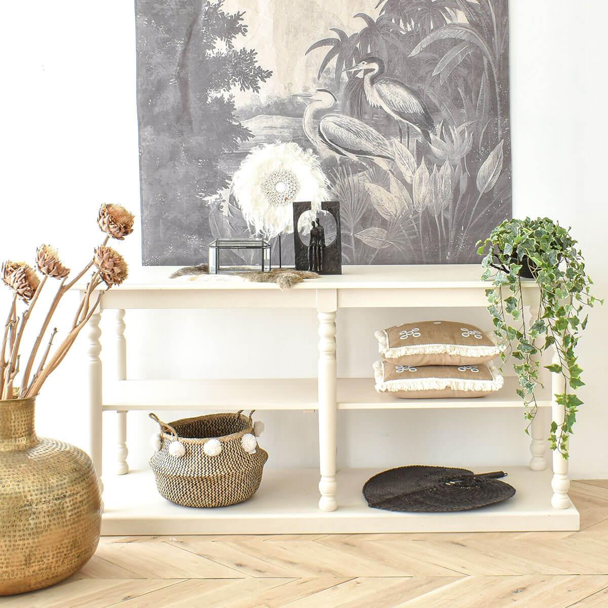 white-console-cozy-home