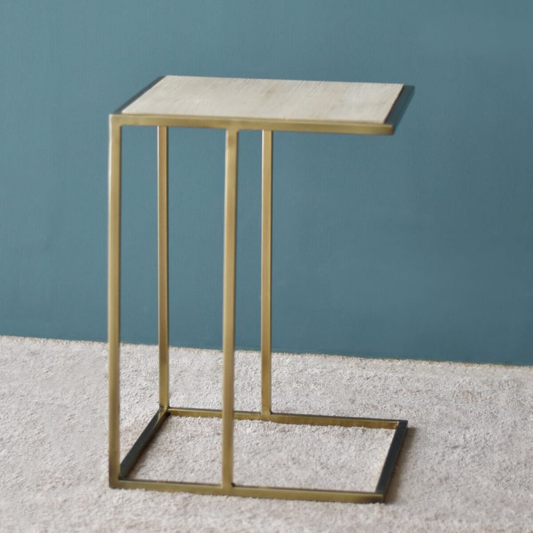 Aimee Side Table with Gold Frame