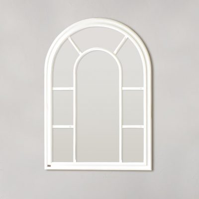 Arc Window Pane Mirror – White