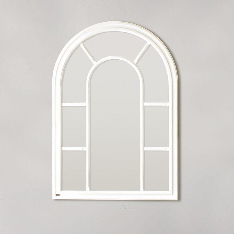 Arc Window Pane Mirror – White