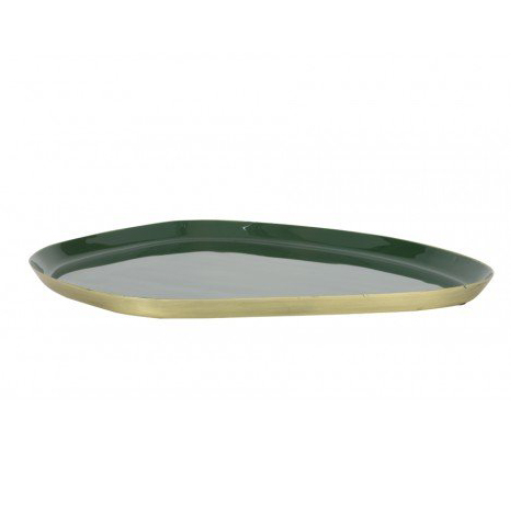 Dark Green Enamel Tray 30×25 cm
