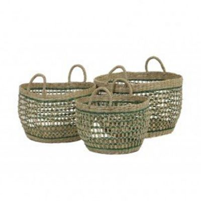 SeaGrass Natural Green Basket S\3