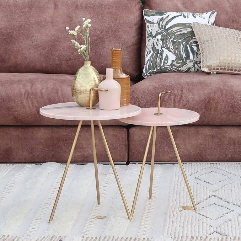 Marble Pink-Gold Table 36 x 43 cm