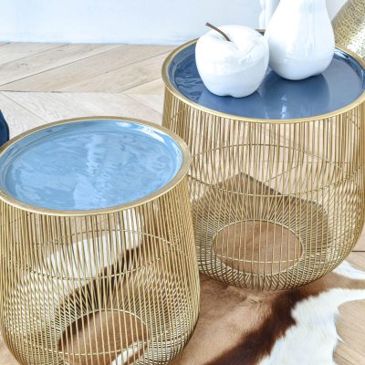 Enamel Nest Blue Set of 2 Table