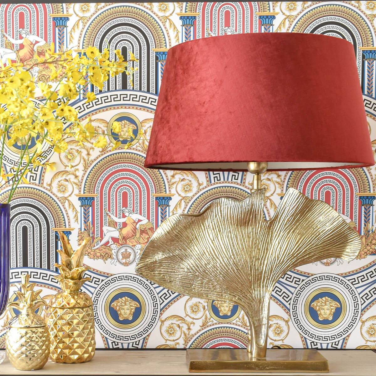 gold-leaf-with-red-lampshade-dubai-