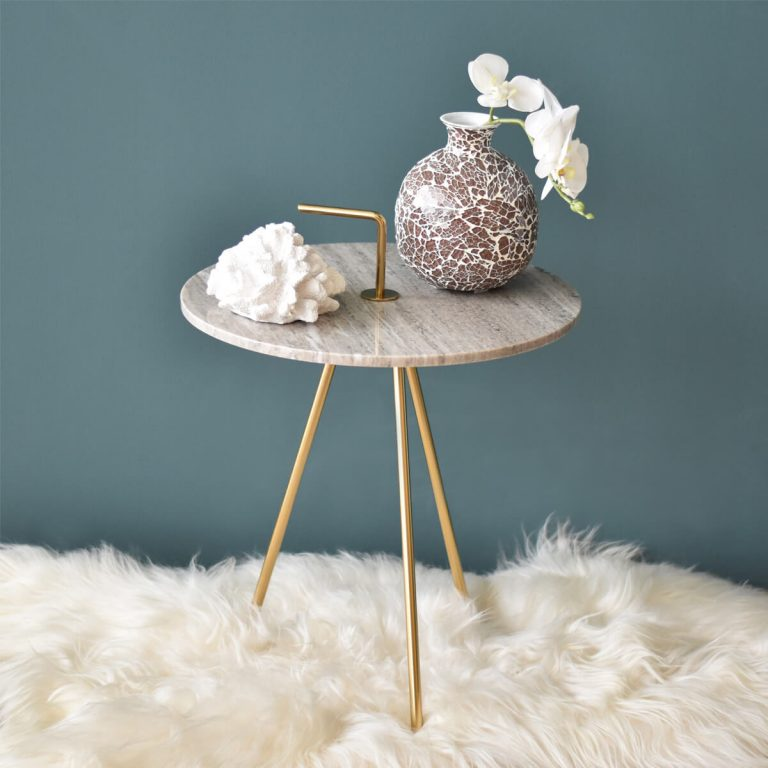 Marble Grey-Gold Table 43 x 47 cm
