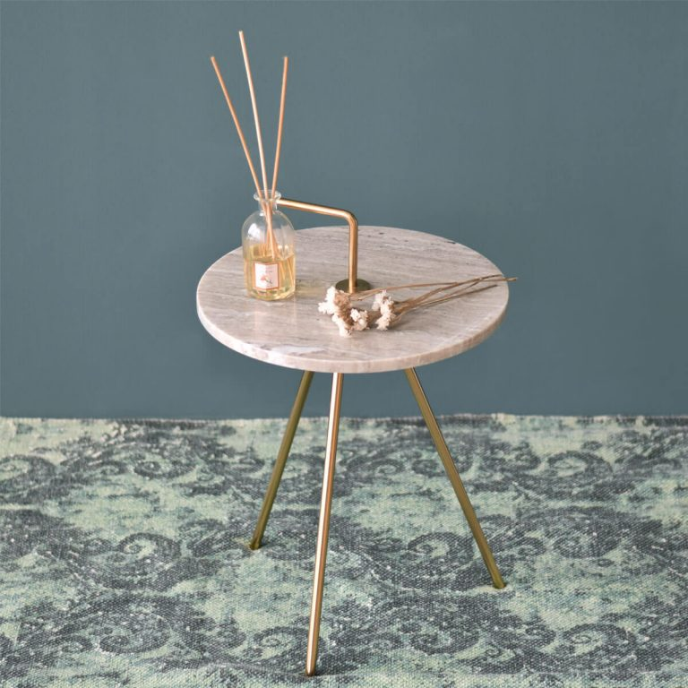 Marble Grey-Gold Table 36 x 43 cm