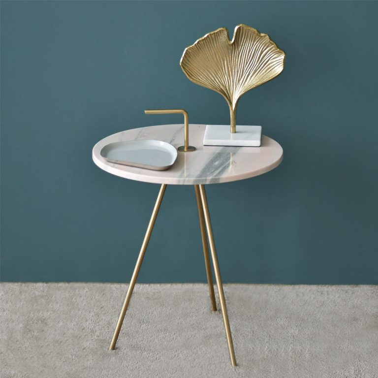 Marble Pink-Gold Table 43 x 47 cm