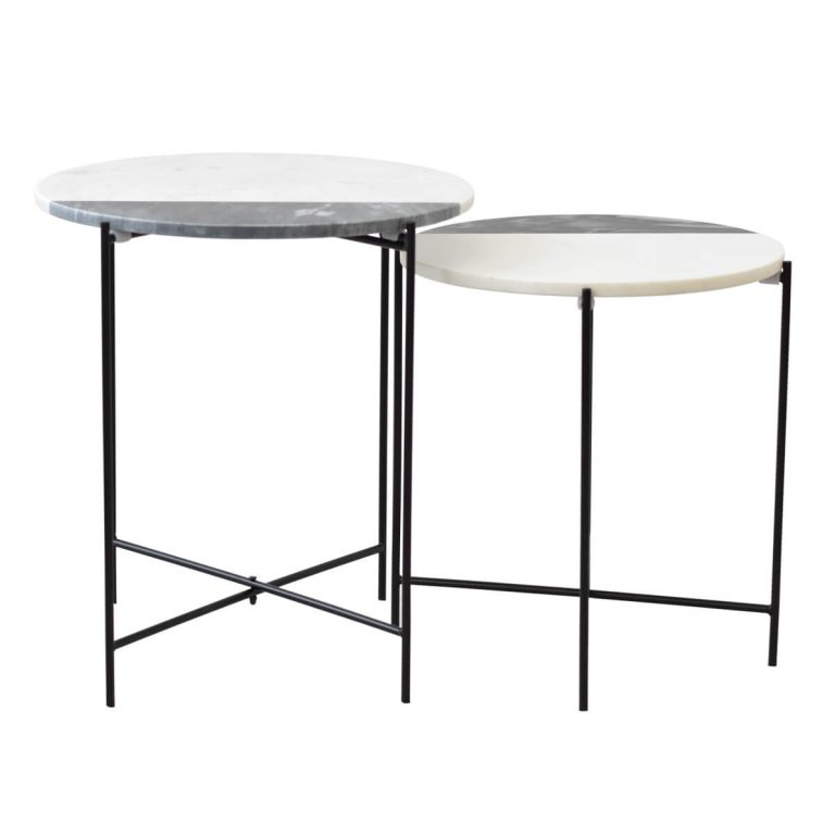 White Marble Set of 2 Table