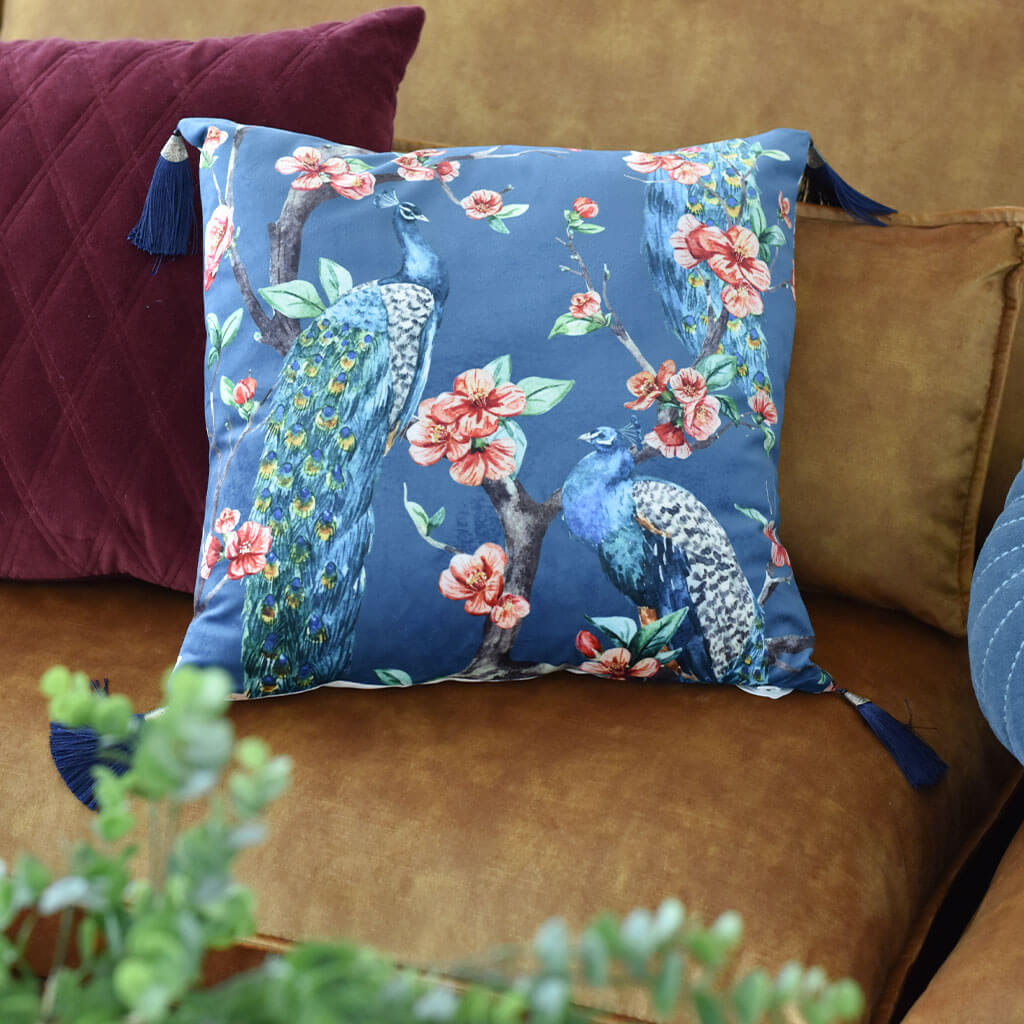 peacock with tassels cushion blue