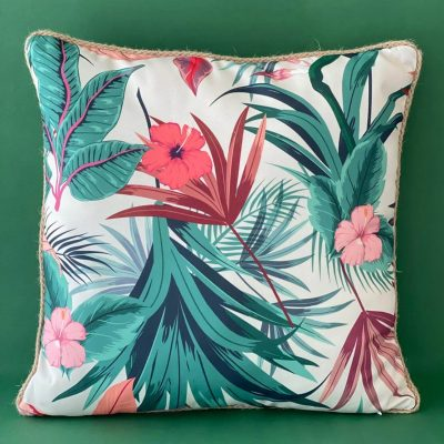 Tropical Cushion with Jute Border