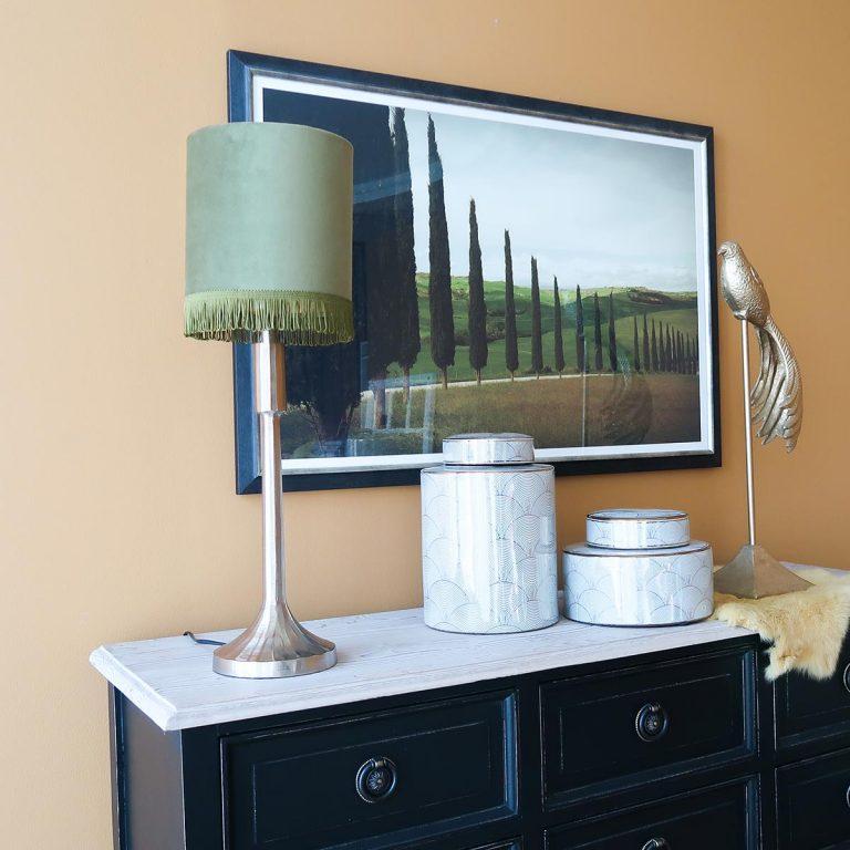 Maximalist Green Velvet Lamp