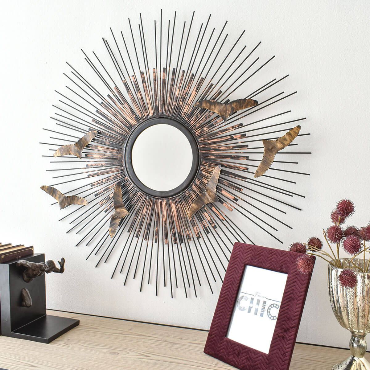 spike wall mirror in gold color