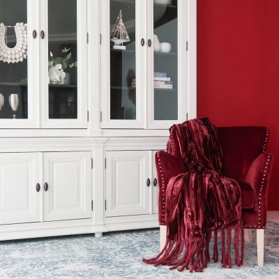 Wine Velvet Throw with Fringes