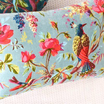 Birds In Paradise Cushion Aqua
