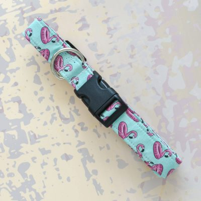 Mint Flamingo Fabric Collar