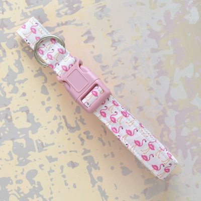 Pink Flamingo Fabric Collar