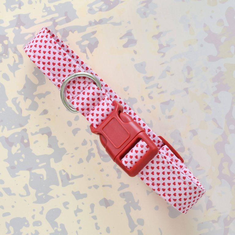 Pink Heart Fabric Collar