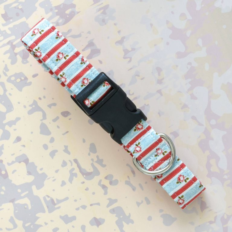 Shabby Chic Fabric Dog Collar