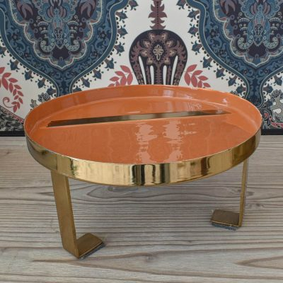 Orange-Gold Enamel Tray – Small