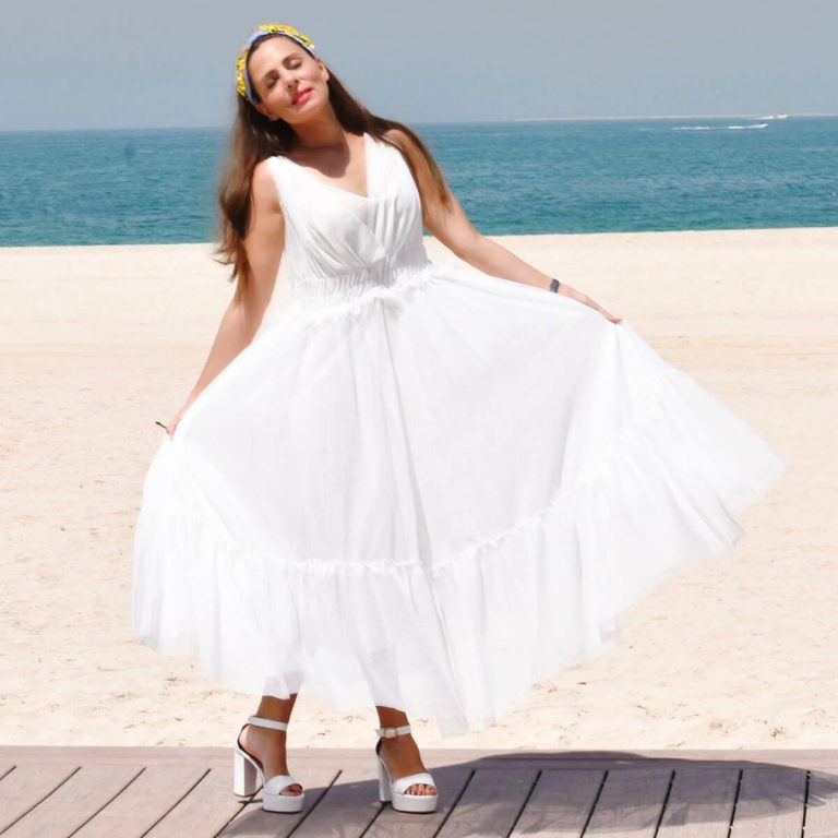 Women's Maxi Dress V Neck in White