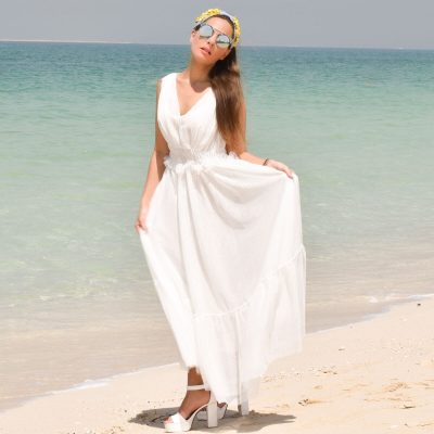 Women's Maxi Dress V Neck in White