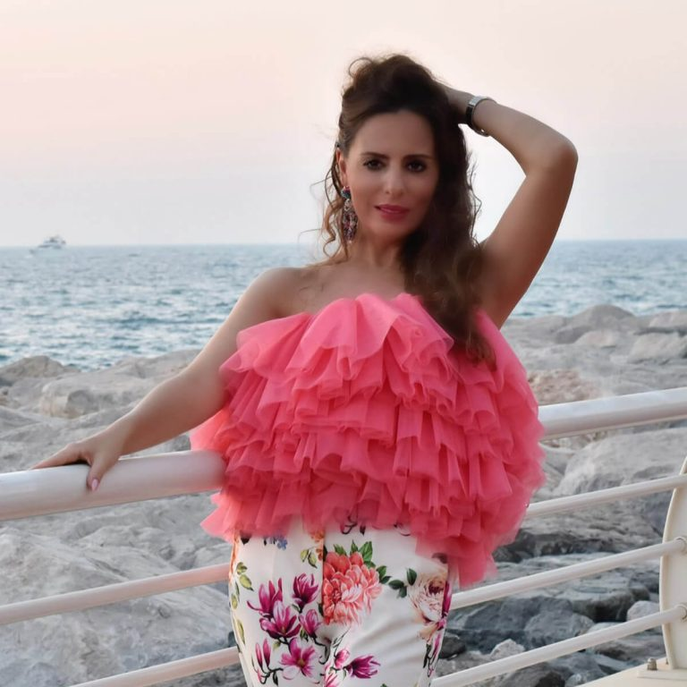 Pink Layered Tulle Top for Women, Medium