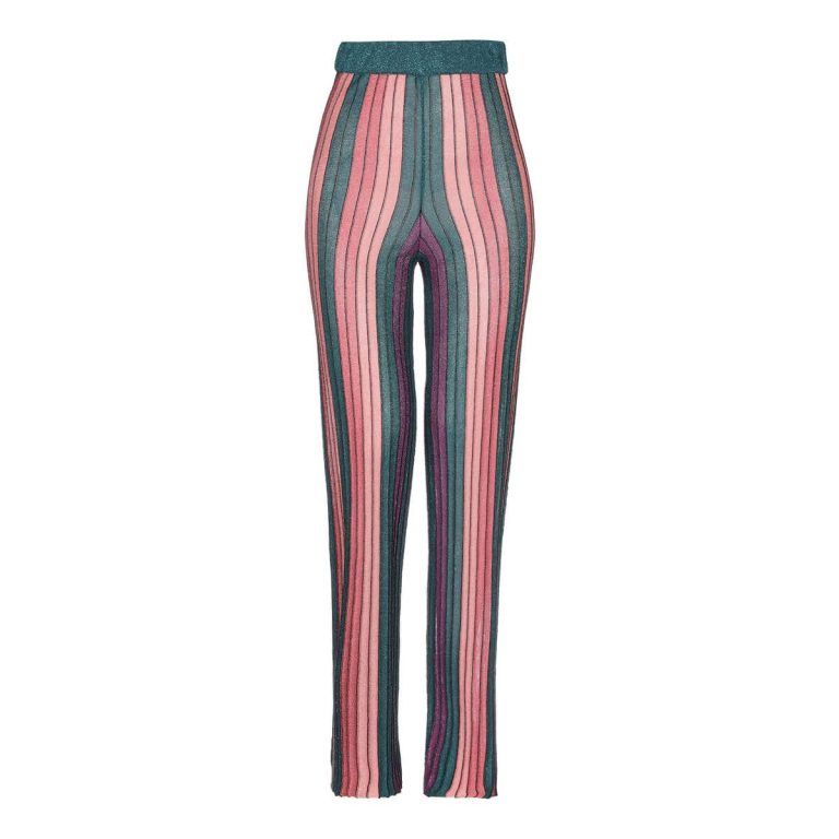Womens Stylish Elastic Waist Striped Wide Leg Casual Pants Clothing, Deep Jade Color, One Size