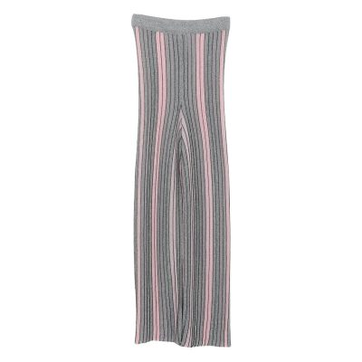 Womens Stylish Elastic Waist Striped Wide Leg Casual Pants Clothing, Gray Color, One Size