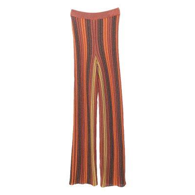 Womens Stylish Elastic Waist Striped Wide Leg Casual Pants Clothing, Orange Color, One Size
