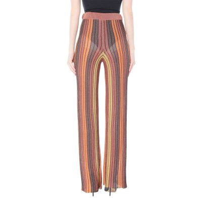 Womens Stylish Elastic Waist Striped Wide Leg Casual Pants Clothing, Orange Color, One Size