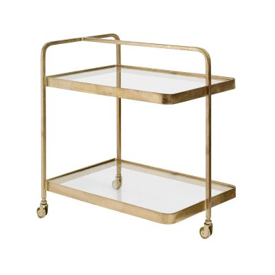 Bar Cart Trolley with Glass Top
