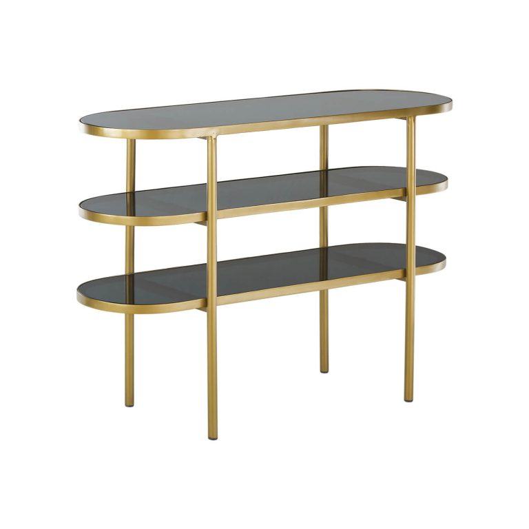 Boca Curved Metal Console with Glass Shelves